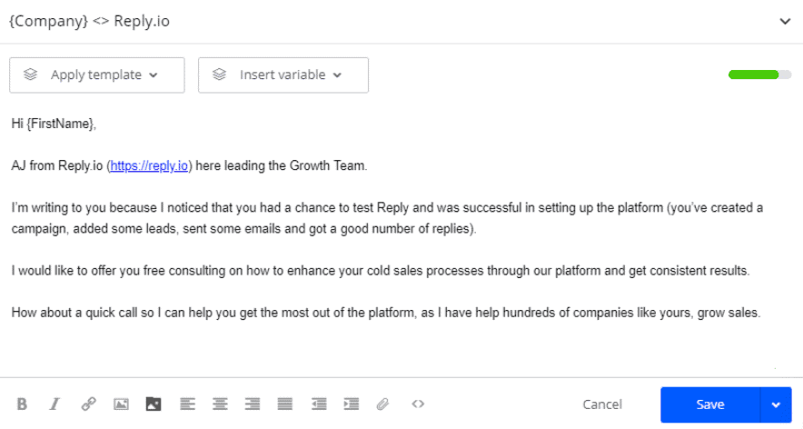 Reply's email tamplate pic for inbound sales tactics
