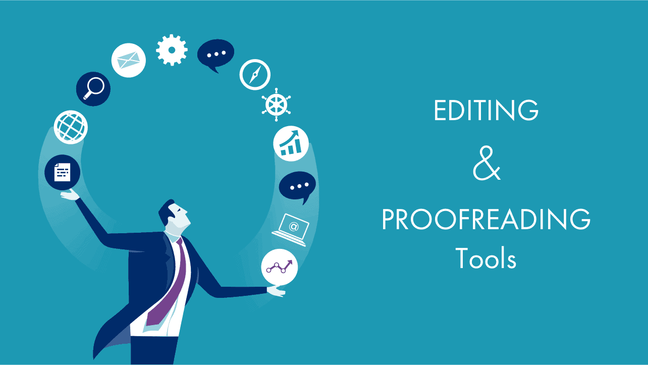 Editing and proofreading tools: a man with logos of tools